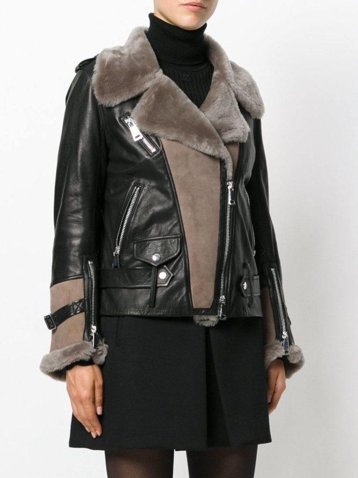 черная куртка косуха с серым мехом