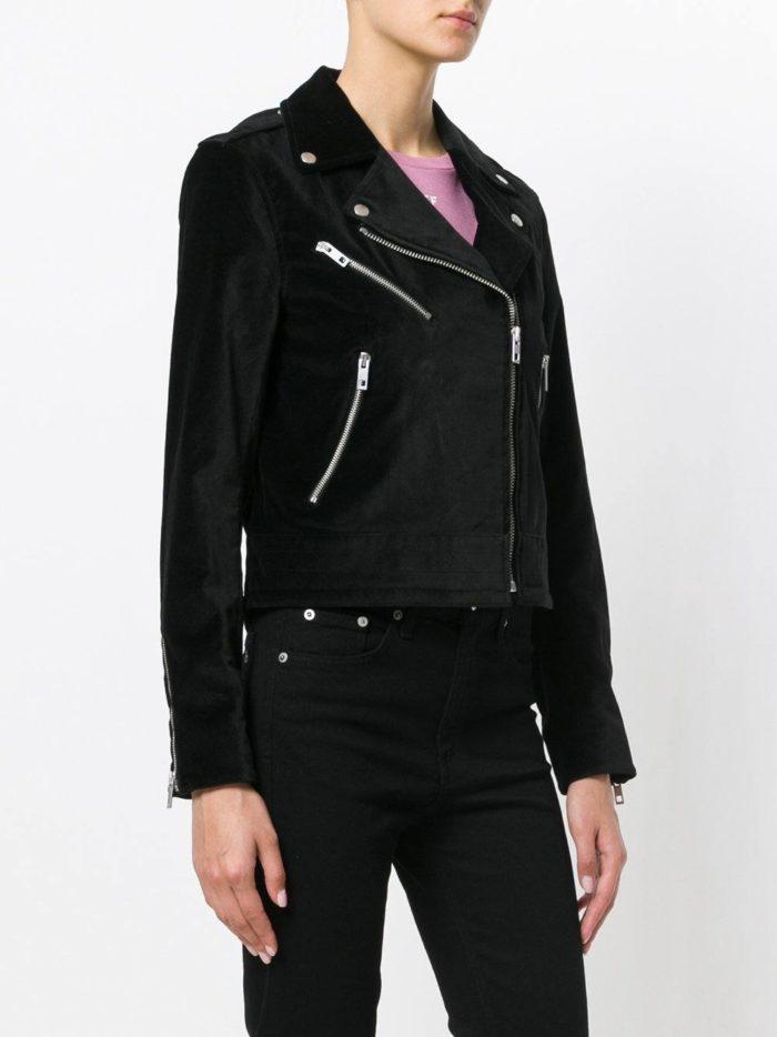 бархатная черная куртка косуха
