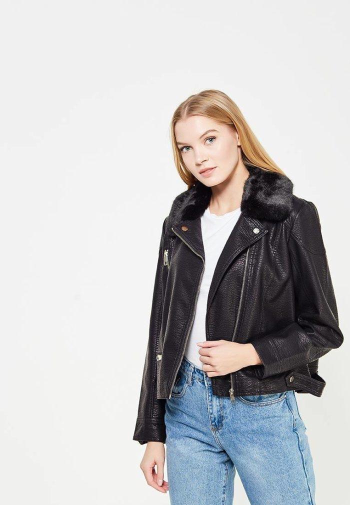 кожаная черная куртка косуха с мехом