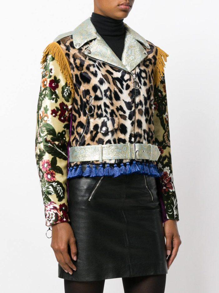 куртка косуха с леопардовым принтом и бахромой