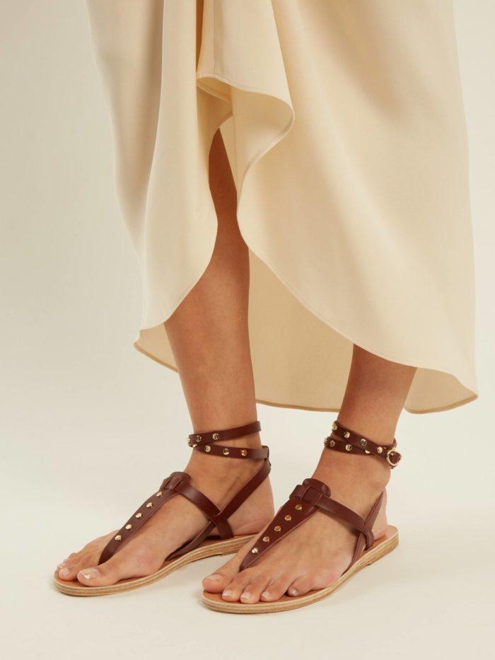 летние коричневые гладиаторские сандали на низком ходу