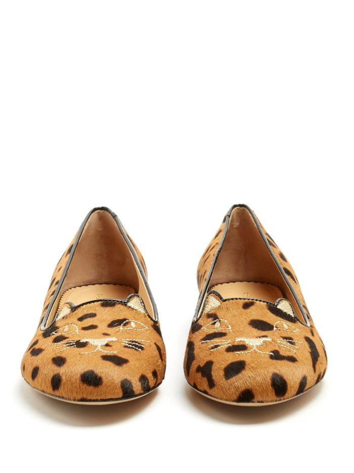 модная обувь лето 2020: балетки с животным принтом