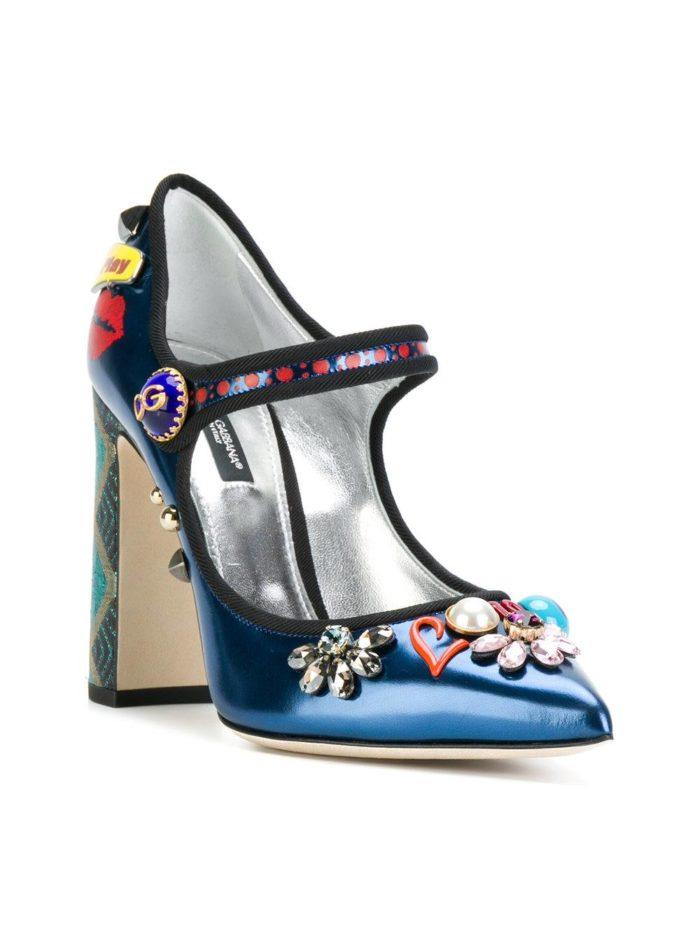 синие туфли с декором на толстом каблуке