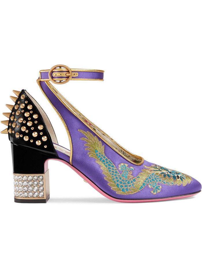 туфли с принтом на толстом каблуке