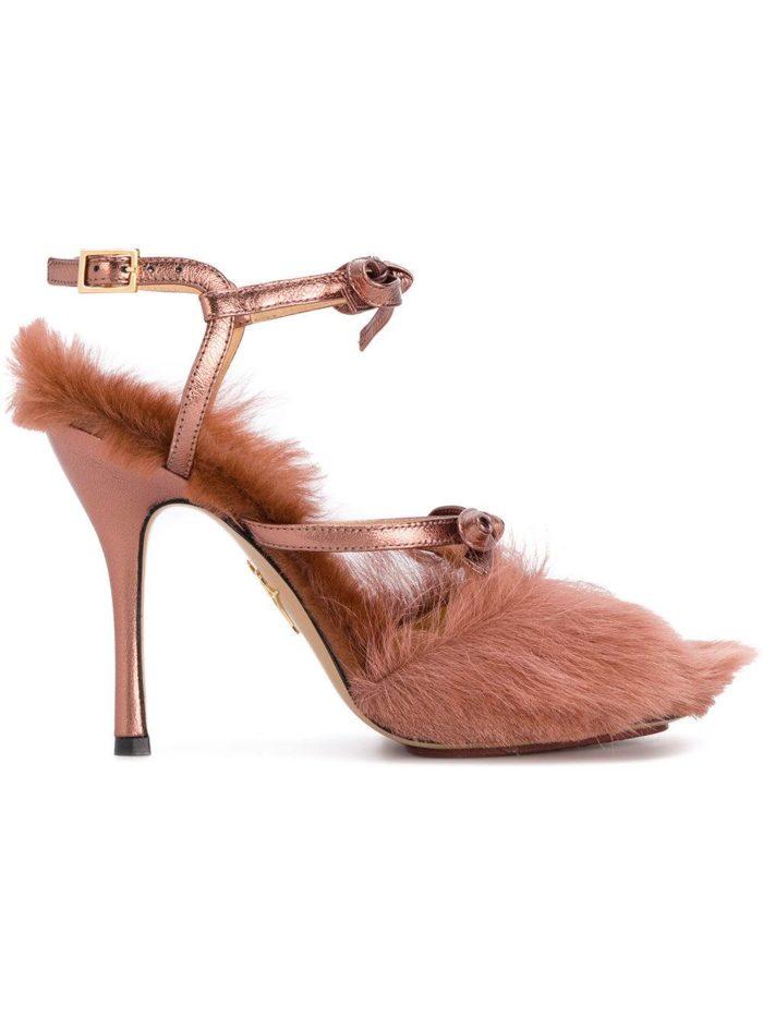 меховые туфли на шпильке