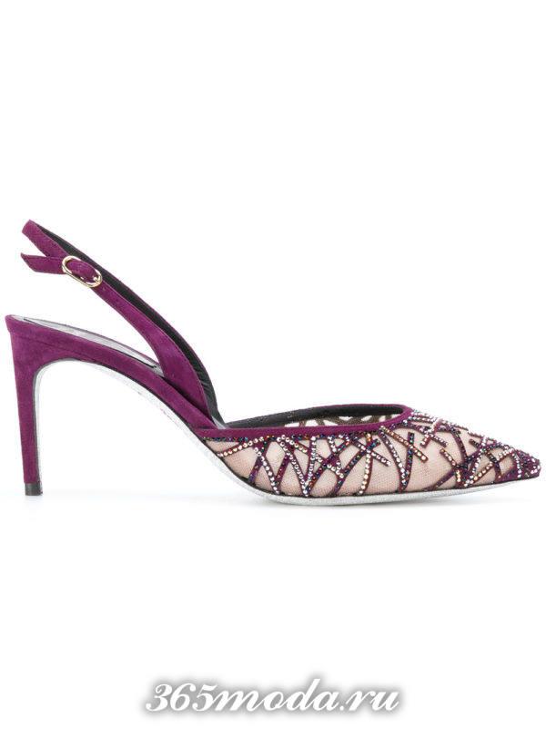 летние фиолетовые туфли с открытой пяткой на шпильке