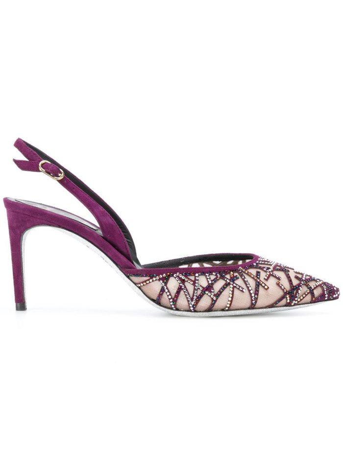 фиолетовые туфли с открытой пяткой на шпильке
