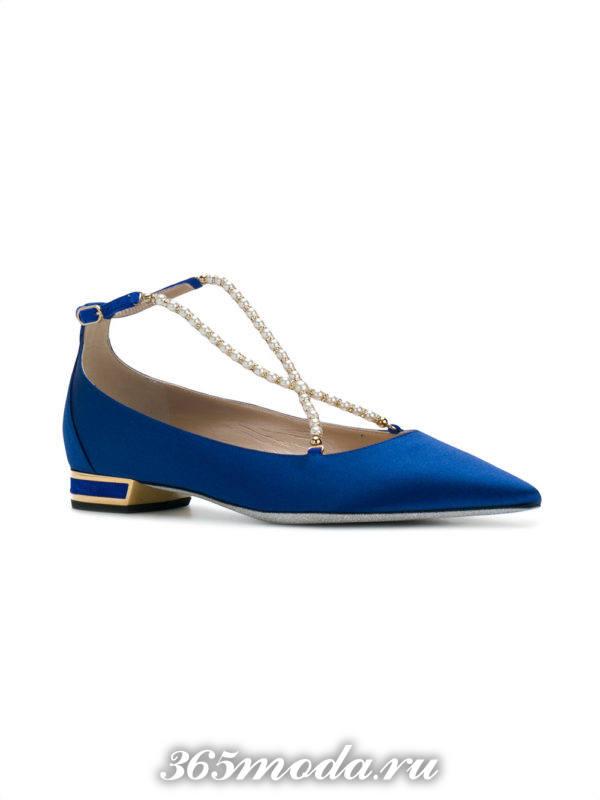 летние синие туфли на низком ходу