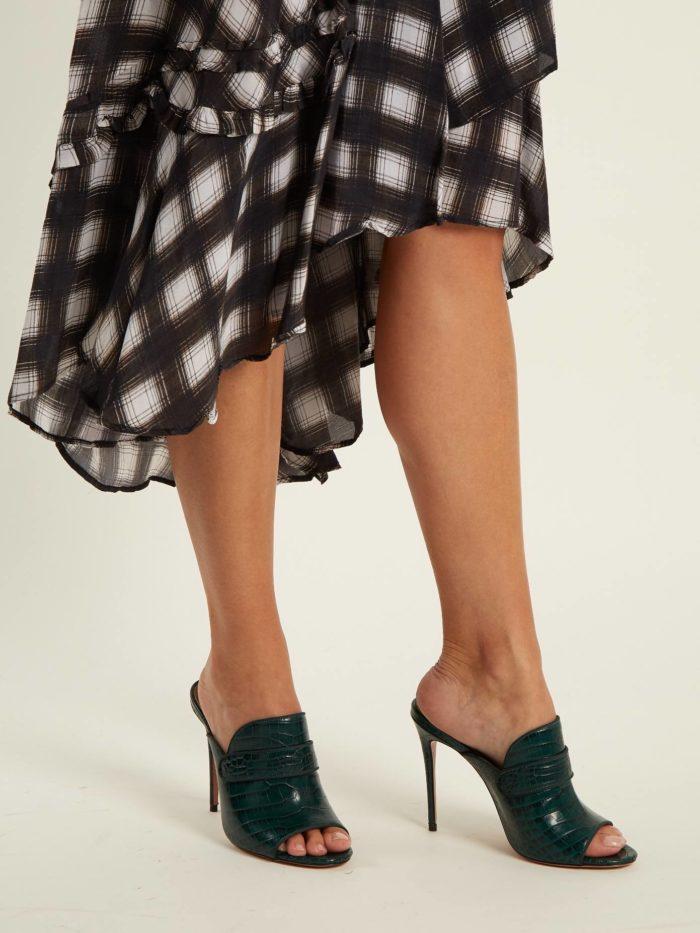 летняя женская обувь 2020: мюли с змеиным принтом на шпильке