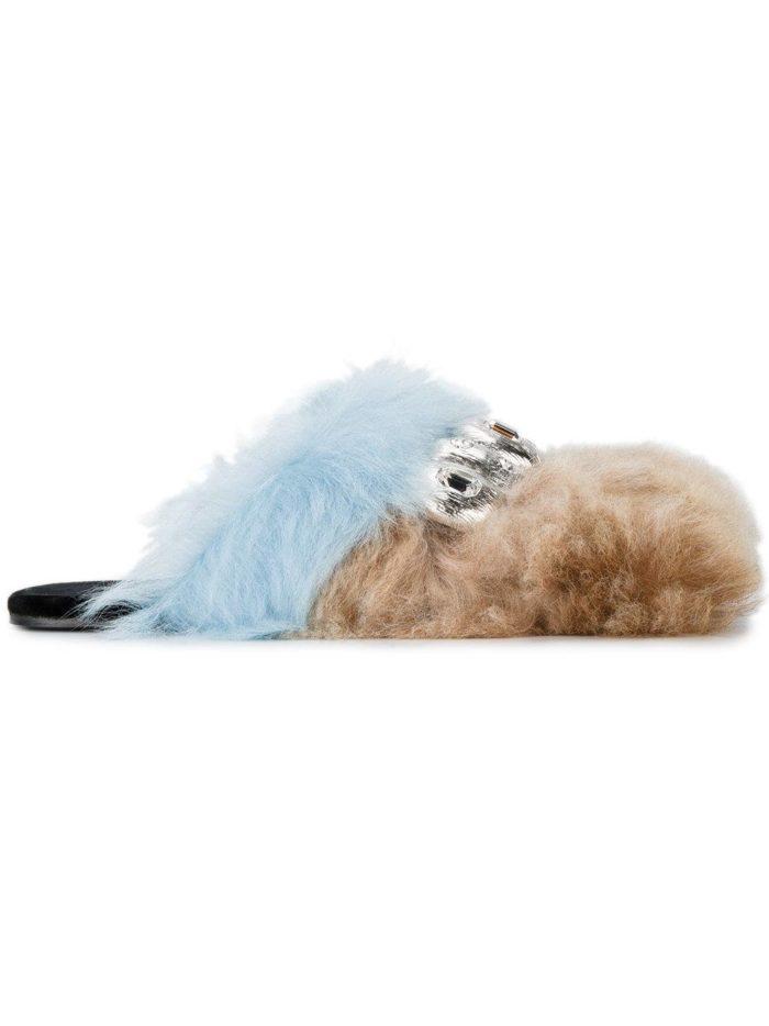летняя женская обувь 2020: мюли с мехом на низком ходу