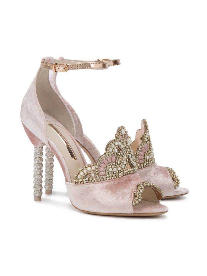 летняя женская обувь 2020: розовые туфли на шпильке с декором