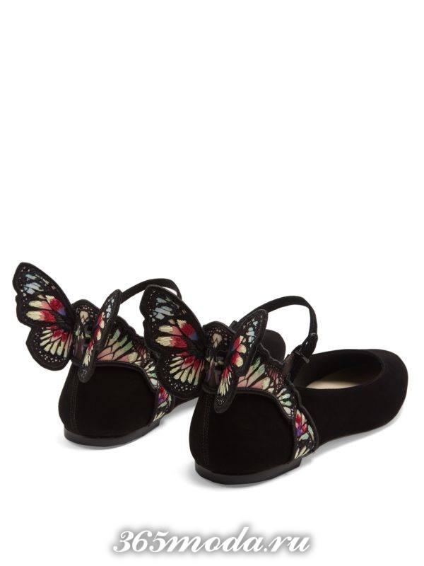 летние черные балетки с декором