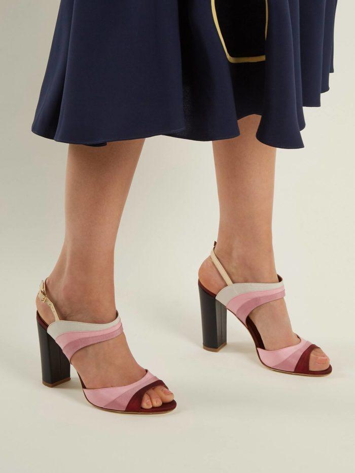 обувь лето 2020: босоножки с полосками на толстом каблуке