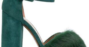 летние зеленые туфли с мехом на толстом каблуке