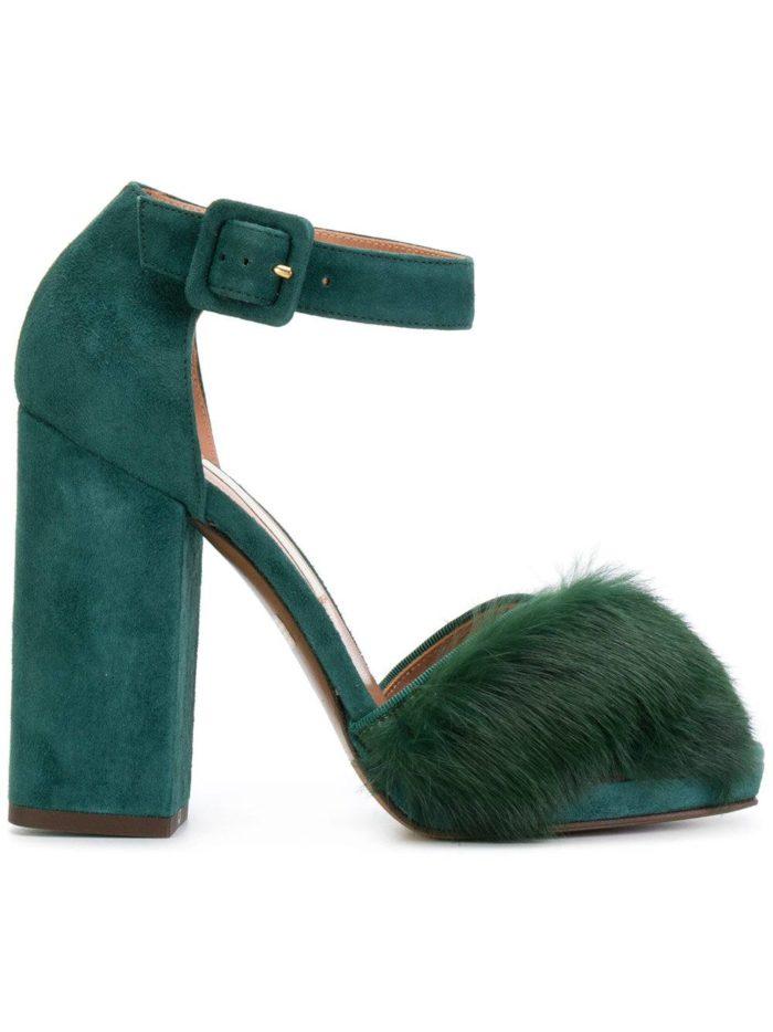 обувь лето 2020: зеленые туфли с мехом на толстом каблуке