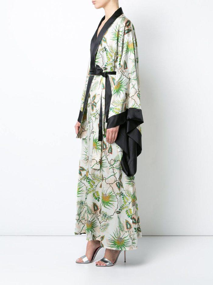 летние платье кимоно с запахом и принтом