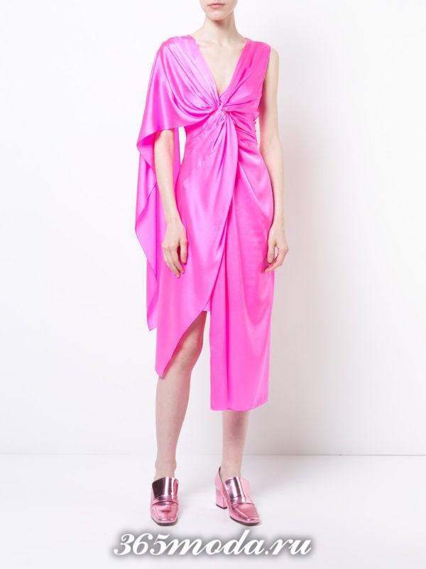 летние розовое асимметричное платье с запахом