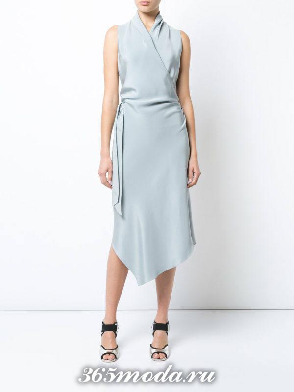 летние голубое платье миди с запахом