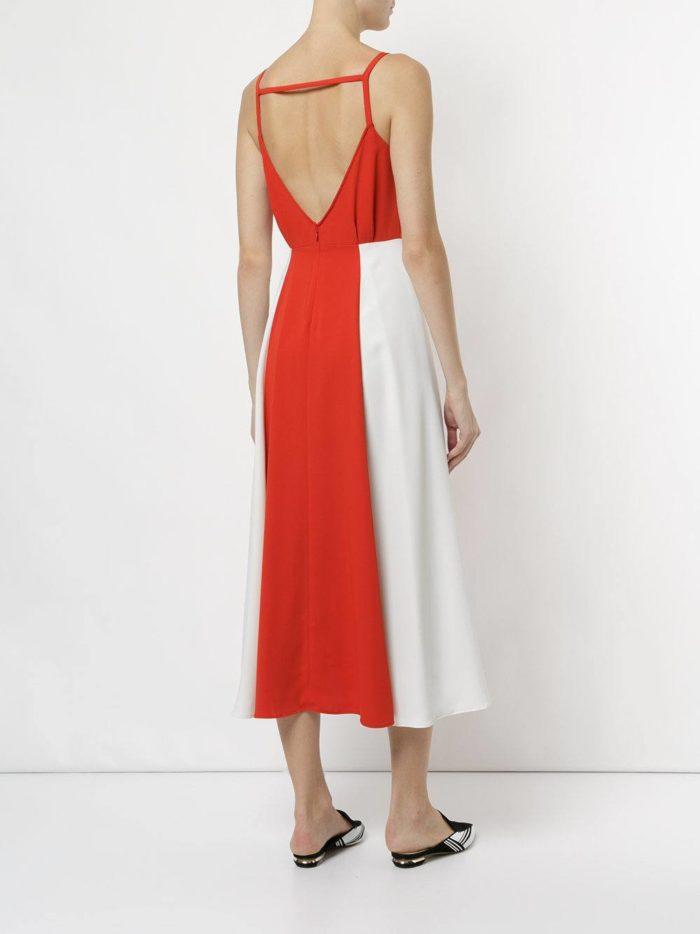 летнее двухцветное длинное платье с обнаженной спиной