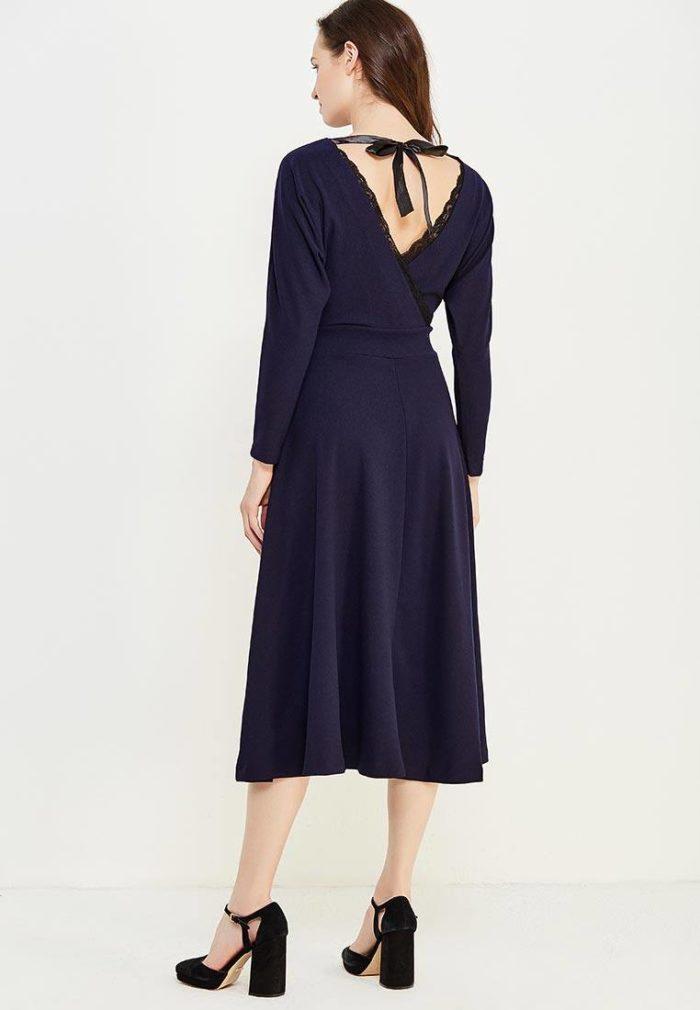 летнее синее платье миди с обнаженной спиной