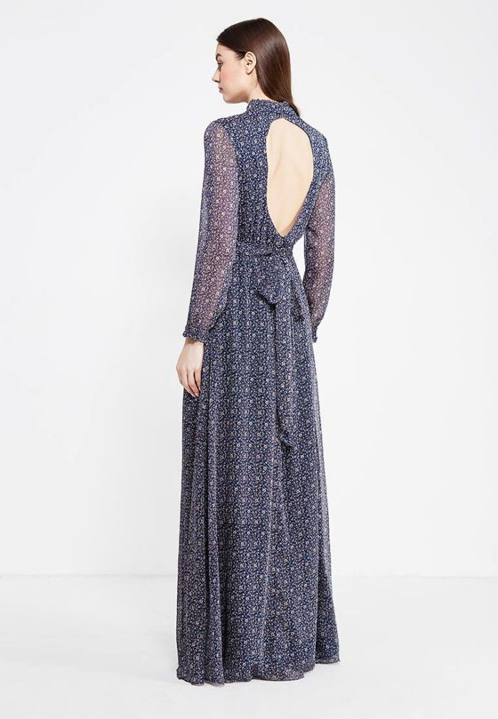 летнее длинное платье с принтом с обнаженной спиной