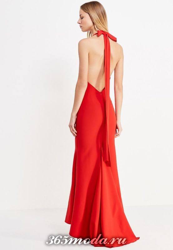 летнее красное платье годе с обнаженной спиной