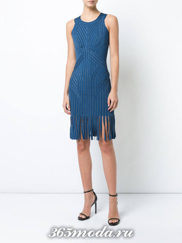 летнее синее платье футляр с бахромой