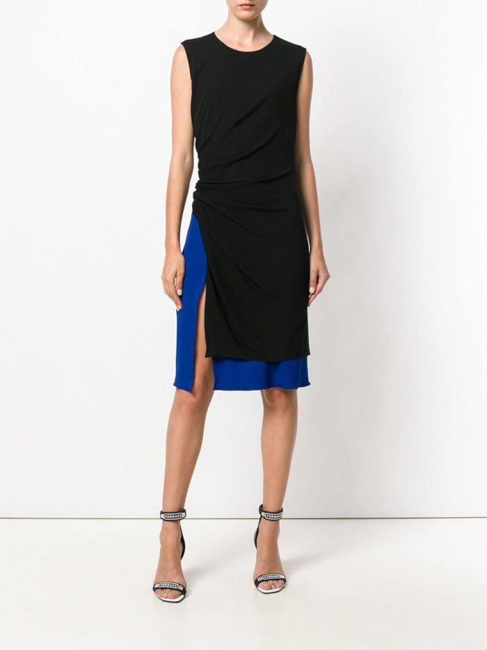 летнее двухцветное платье футляр с разрезом