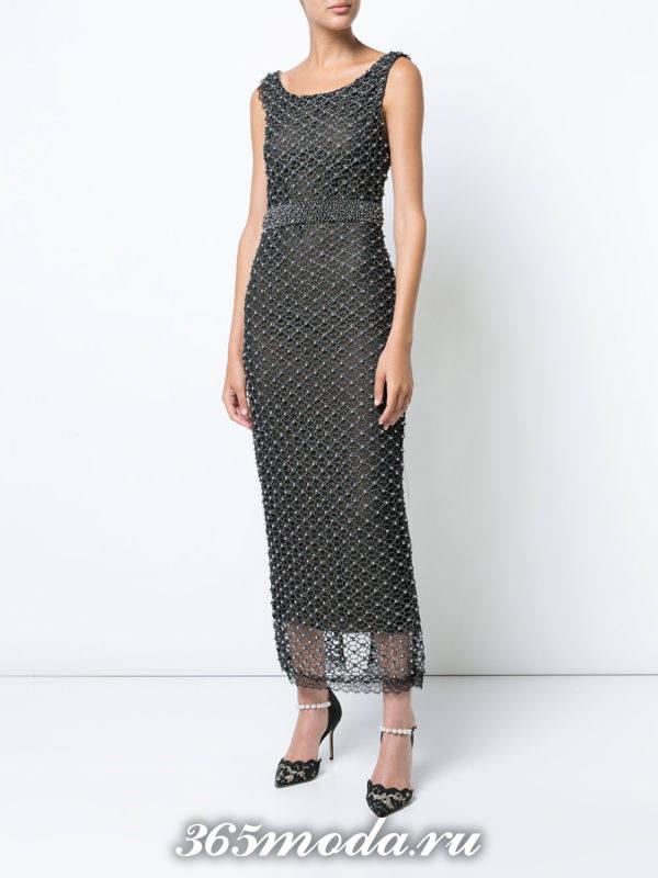 летнее серое длинное платье футляр