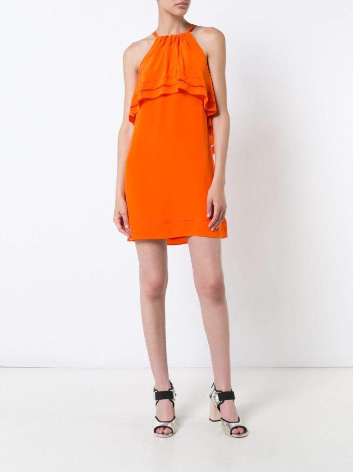 летный оранжевый сарафан с воланами