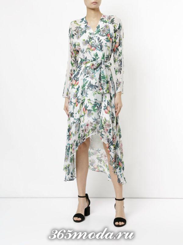 летнее платье с рукавами с запахом