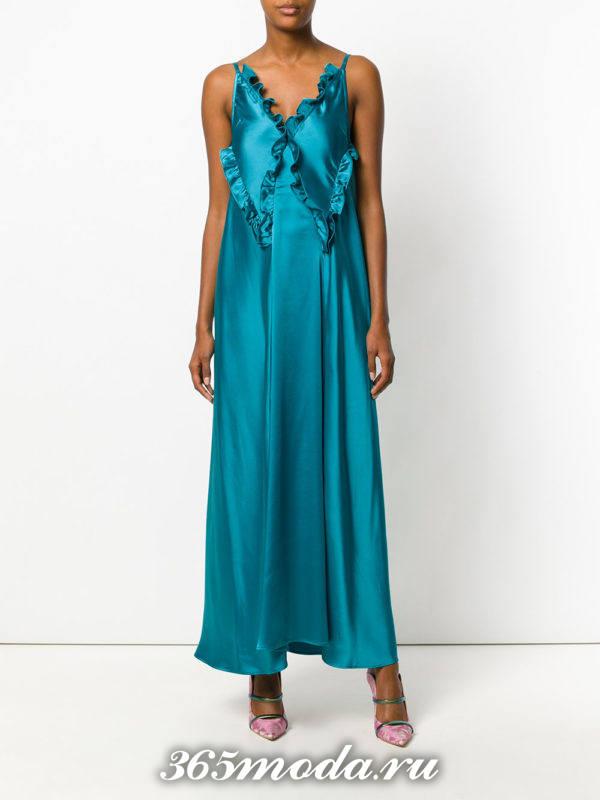 летний синий сарафан с оборками в пижамном стиле