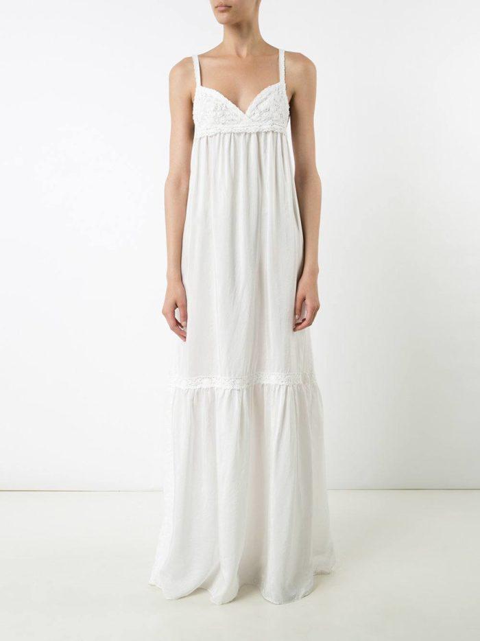 летний белый длинный сарафан в пижамном стиле