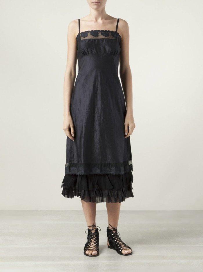летний черный многослойный сарафан в пижамном стиле
