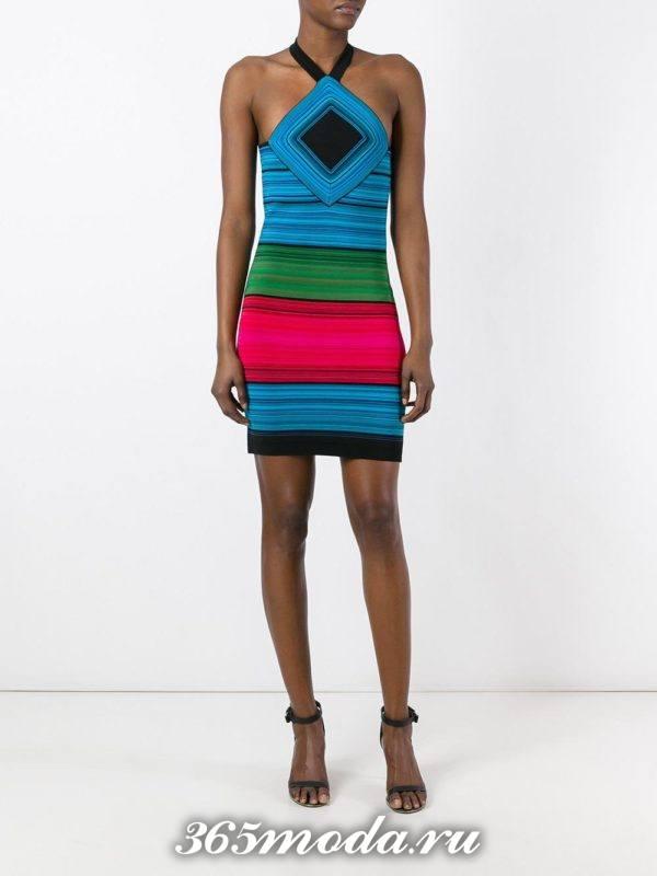 летнее полосатое мини платье
