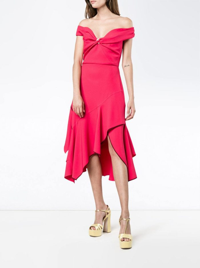 летнее розовое асимметричное платье