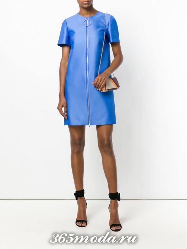 летнее синее мини платье с молнией