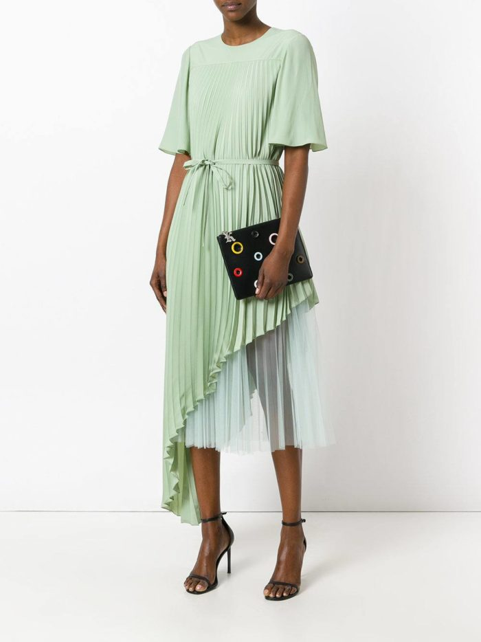 летнее бирюзовое платье плиссе