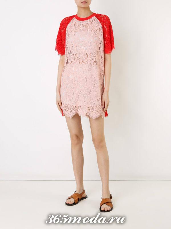 летнее кружевное мини платье