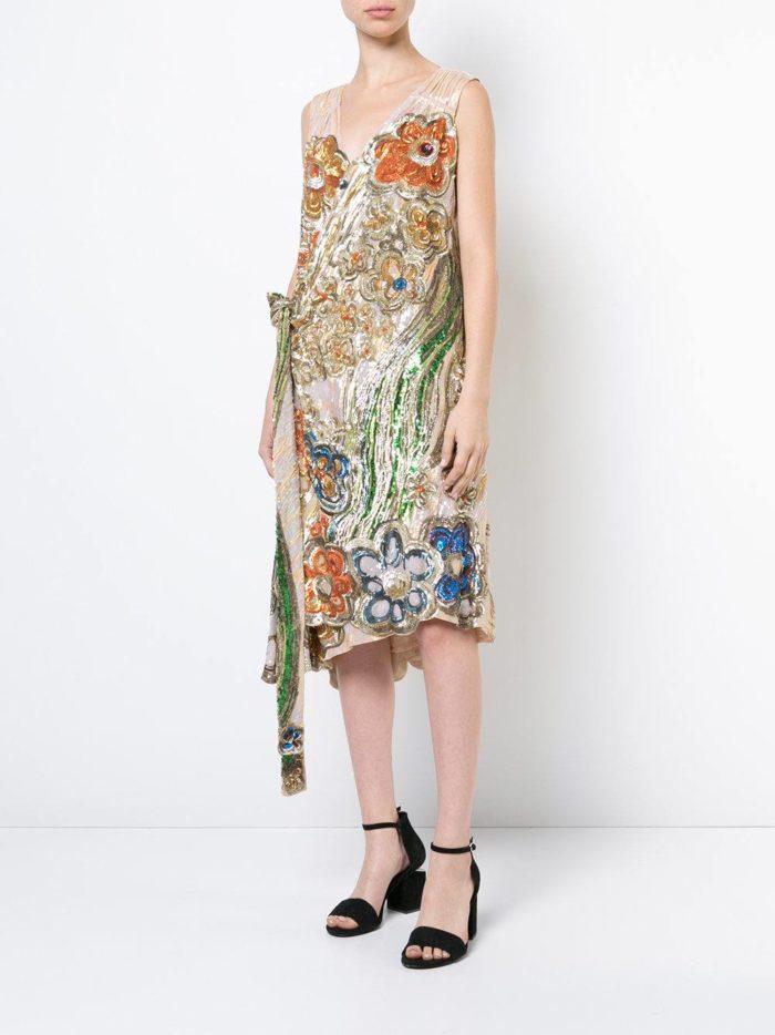 летние платье с запахом и декором