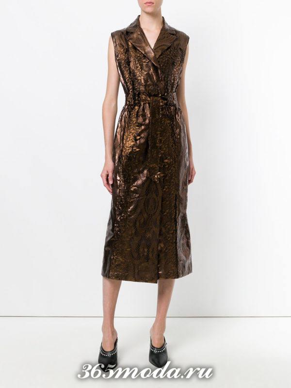 летние коричневое платье миди с запахом