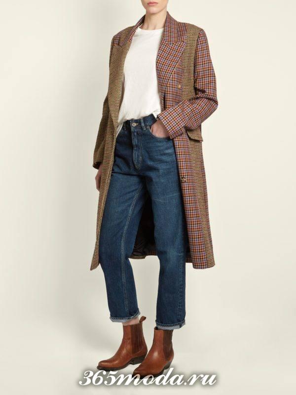 лук с пальто в клетку и укороченными джинсами осень-зима