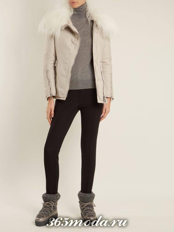 лук с джинсами скинни и короткой дубленкой осень-зима
