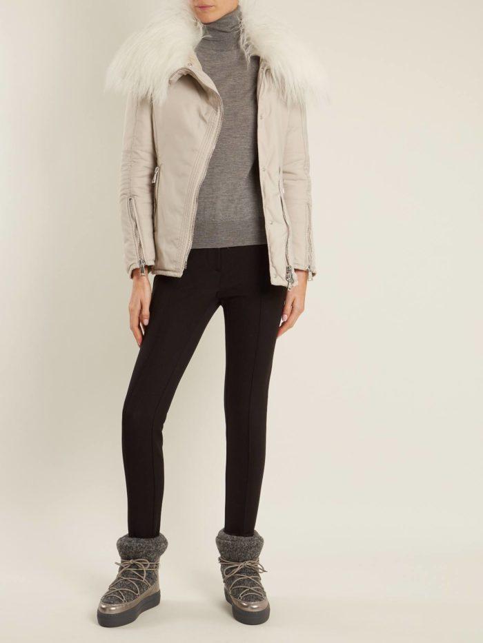 луки осень-зима: с джинсами скинни и короткой дубленкой