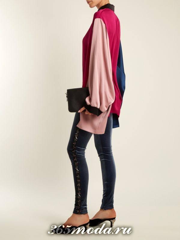 лук с бархатными брюками скинни и блузой оверсайз осень-зима