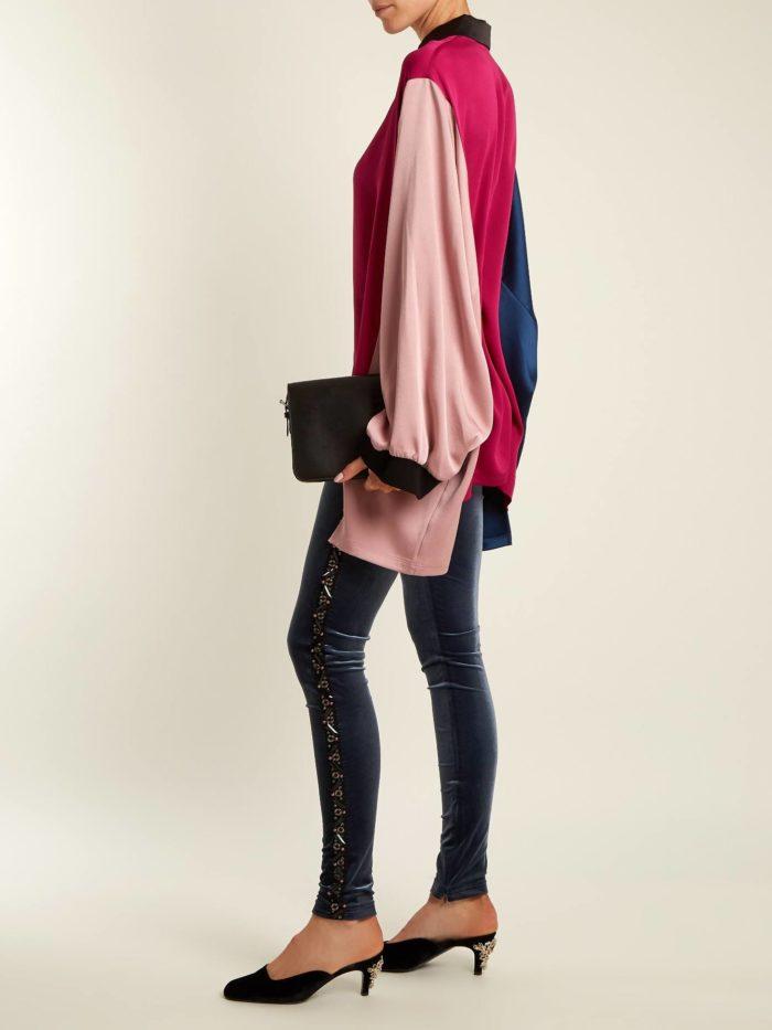 луки осень-зима: с бархатными брюками скинни и блузой оверсайз