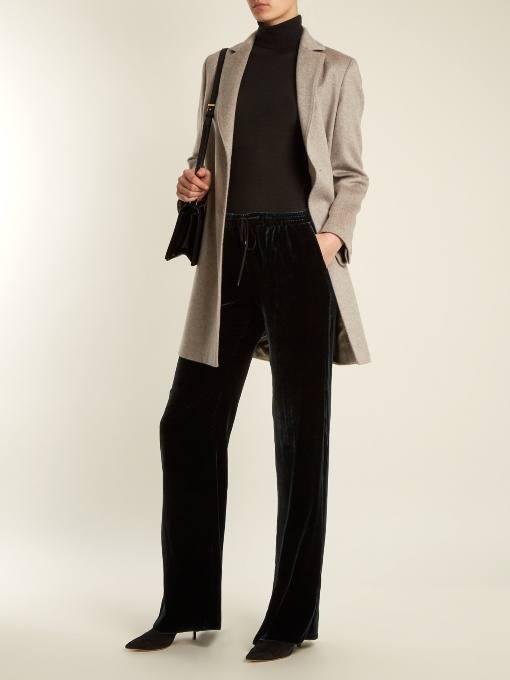 луки осень-зима: с бархатными прямыми брюками и плащем