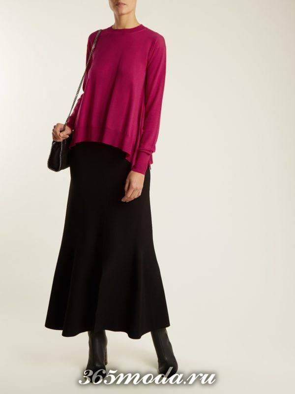 лук с асимметричным свитером и черной юббкой макси осень-зима