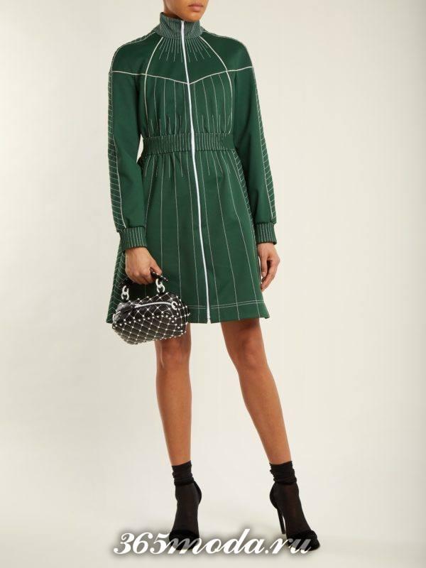 лук с зеленым платьем под горло осень-зима