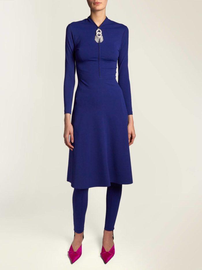 модный лук: с синим миди платьем